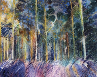 Woodland watercolour, original landscape of trees, tree painting, Cornwall wood, Idless woods, forest art