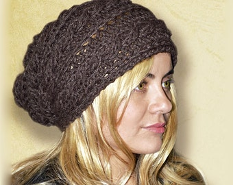 SPECIAL - Slouchy cable patterned beanie - CHOCOLAT - womens teen girls - accessories - vegan friendly - gift