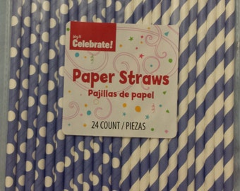 24 Paper straws blue and white dot bubbles and stripes Holidays Cake Pops Drinks