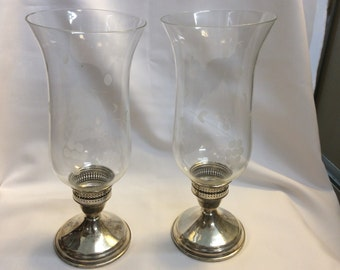 Pair of sterling etched glass candle holders
