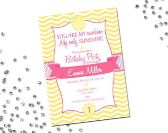 You Are My Sunshine Birthday Party Invitation - Sunshine Birthday - Yellow and Pink - Chevron Stripes - DIY - Printable