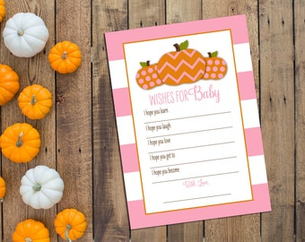 Wishes for Baby - Little Pumpkin Baby Shower - Little Pumpkin Wishes for Baby - Pink Large Stripes - INSTANT DOWNLOAD - Printable