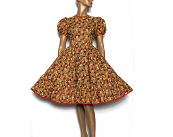 Vintage 1950s Dress Swing Cocktail Party Couture Mad Man Femme-Fatale Rockabilly Garden Party Dress Square Dance