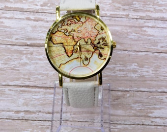 White World Map Watch, Women Watches, Leather Watch, White Leather Watch, World Watch, Wrist Watch, Woman Gift, Teen Gift, Teenager Gift