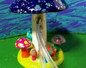 Mushroom Shroom hookah hooka Tobacco pipe Cosmic Starry night blue 2 hitter pointed cap top handmade alice in wonderland hippie