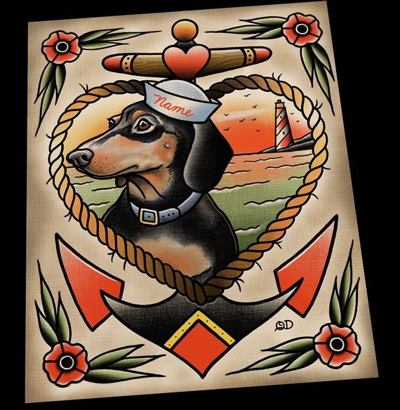 personalized dachshund puppy tattoo flash portrait art print. Black Bedroom Furniture Sets. Home Design Ideas