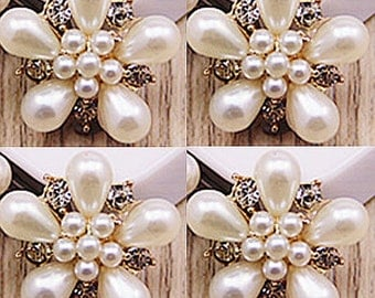 4 Flat Back Rhinestone and Pearl Button (20 mm) DT-006