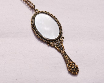 Kitsch jewelery Charm necklace Birthday gift Hand mirror necklace