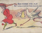 Antique Cartoon Baby and the Stork Postcard | Maternity | New Mothers | Great for Scrapbook and Crafting Artisans