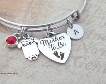 Mother to be Baby Feet Onesie Bangle Personalized Hand Stamped Initial Birthstone New Mom Stainless Steel Expandable Bangle Bracelet