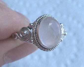 Rose Quartz Sterling Silver Ring Size 12