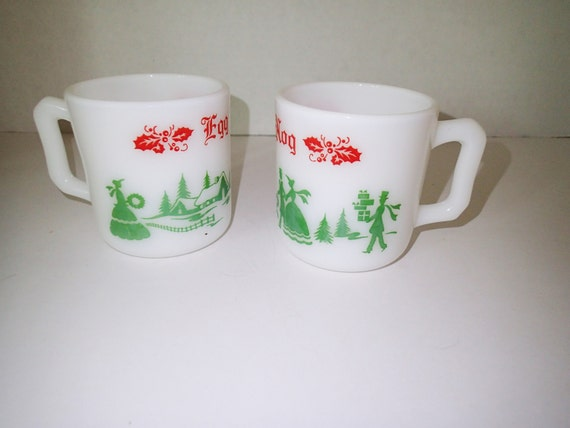 CHRISTMAS IN JULY Hazel Atlas Egg Nog cups just for the two