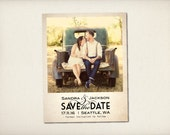 "Save The Date Magnet, Modern Vintage Magnet, Wedding Save The Date, Rustic Save The Date Magnet, 4.25"" x 5.5"" Photo Magnets (STDM1)"