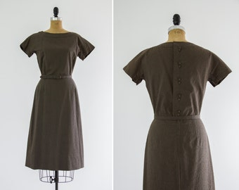 vintage 1950s day dress | olive green 50s cotton dress | 1950s wiggle dress
