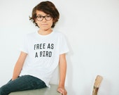 Free As A Bird Children's t-shirt by The Bee & The Fox, Made in USA
