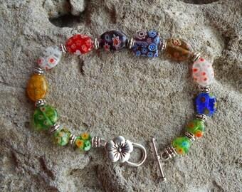 Millefiori vintage glass handmade bracelet