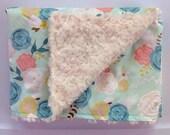 Baby Girl Minky Blanket-Spring flowers-Mint Teal Coral Floral-Modern Nursery-Designer Fabric-Baby Shower Gift-Baby Bedding