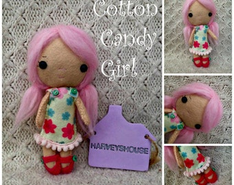 Cotton Candy Doll - Handmade Felt Collectable - Ready to Buy