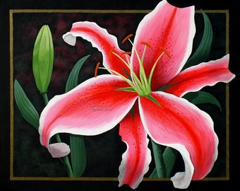 """Pink Tiger Lily Flower with Bud 16""""x20"""" Original"""