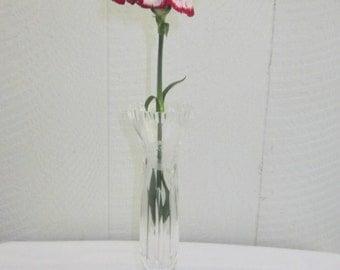 Vintage Beyer Crystal Vase made in Germany.  Etched Bleikristall Crystal Flower Vase.