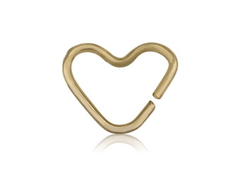 Septum | Helix | Piercing design as big heart | 14K Solid yellow gold