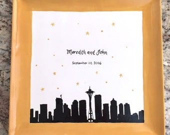 City Skyline - Silhouette - Wedding - Custom Plate - Seattle