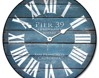 Pier 39 Blue Wall Clock