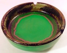 Mid Century Modern RAYMOR Art Pottery ASHTRAY Green Brown Made In ITALY