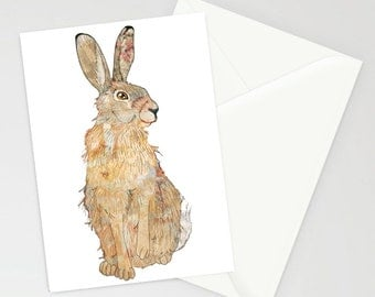 Patchwork Hare Greetings card A6 with envelope