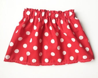 Red polka dot cotton fabric skirt baby toddler skirt Minnie Mouse birthday