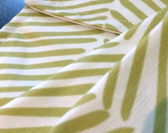 Succulent Green Striped Tea Towels - Set of TWO Kitchen Towels - Spring Colors - Housewarming Gift - Unused Salvaged Remnant Fabric.