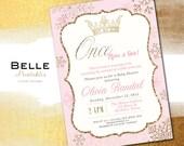 Snow Crown Princess Baby Shower Invitation Snowflake Digital Baby Shower - Gold Glitter- Pink DIY Printable