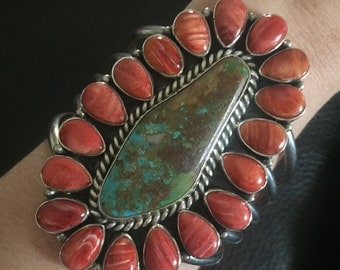 Amazing Tonya Rafael Huge Navajo Sterling Silver Turquoise & Coral Cuff One Of A Kind Layaway Available