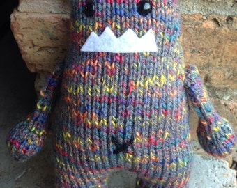 Hand-Knit Plush Monster Toy Multi Colored