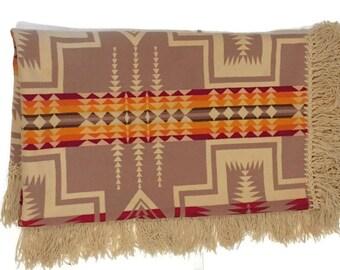 Vintage Wool Pendleton Blanket Throw Tribal Chief Style Beaver State Portland Oregon Pendleton Rustic Southwestern Serape Blanket Wool Camp