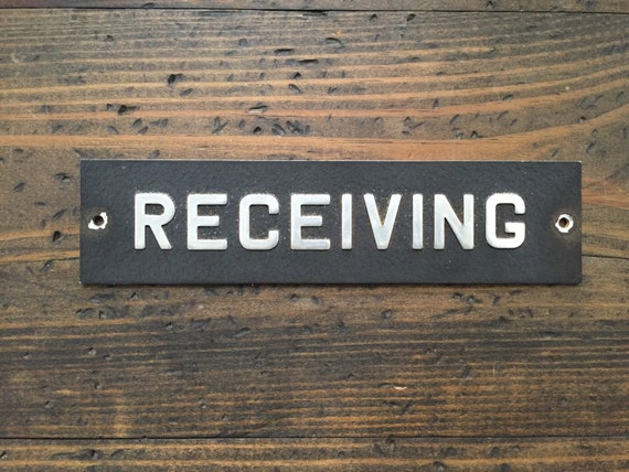 Vintage receiving sign metal shipping and receiving for Raised metal letters