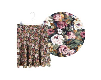 Small 90's Floral Print Knee Length Skirt by Express // 90's Floral Mini Skirt // C36