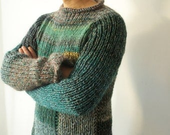 FREE SHIPPING! Handmade green and grey oversized wool sweater for men
