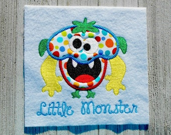 Little Monster Applique, Machine embroidery design, 2 sizes