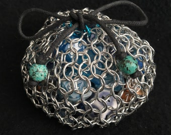 Seafoam Dice Bag: Special Edition - Chainmaille Dice Bag, Gamer Dice Bag, DnD Pathfinder Dice Bag