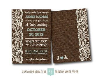 Burlap Wedding Invitation- RSVP Add On Available- Burlap and Lace Save the Date- Printable Wedding Files for the DIY Bride
