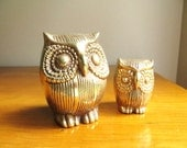 Vintage Brass Owl Figurines, Gold Owl Statues, Two Gold Owls set, Brass Animal, Pair, Paperweights