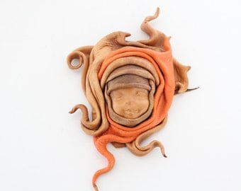 Vintage Leather Sculpture - Autumnal Baby Face Sculpture / Leather Sculpture