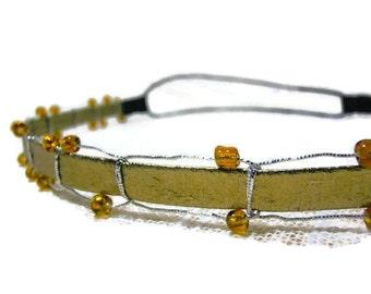 Gold Leather Headband Boho Hairband Silver Braided Hippie Headband Hippie Chic Yoga Headband Hair Wrap