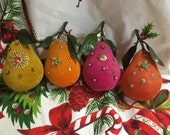 Retro Christmas Ornament Flocked Pear Lot of 4 Mod Colors