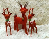 Reserved for Jamy Christmas Reindeer Red Flocked Lot of 3 Glitter and Bells