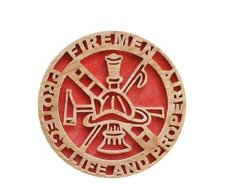 """Wood Plaque """"FIREMEN-Protect Life And Properity"""" Cut On Scroll Saw"""