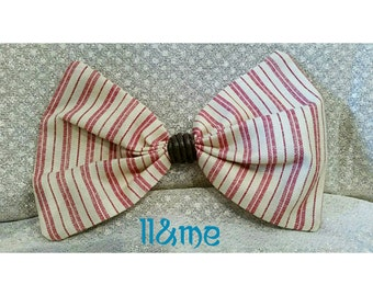 Old man fabric bow with leather center