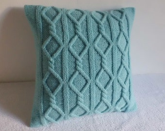 Cable Knit Pillow Cover Aqua, Turquoise Knit Throw Pillow, Decorative Pillow, Hand Knit Pillow Case, 16x16 Pillow Cover