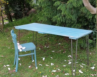 Shabby Chic 5ft Dining Table Garden Table with Hairpin Legs - SALE PRICE ONLY